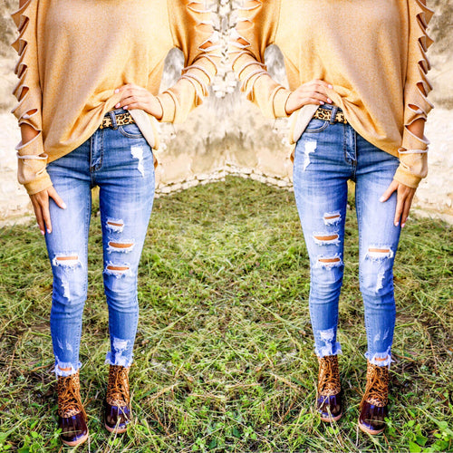 Pasadena High-Rise Distressed Jeans