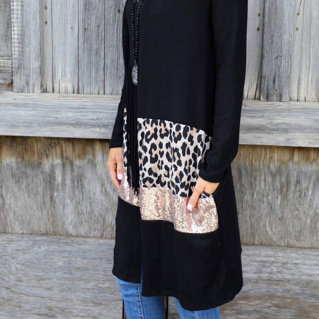 Black Leopard and Sequin Long Cardigan