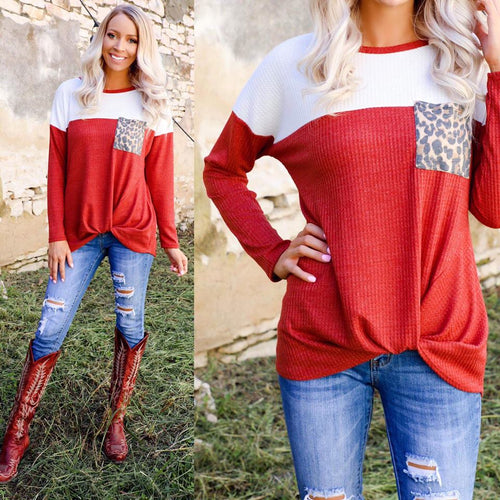 Rust Twist Hem Leopard Pocket Long Sleeve Top