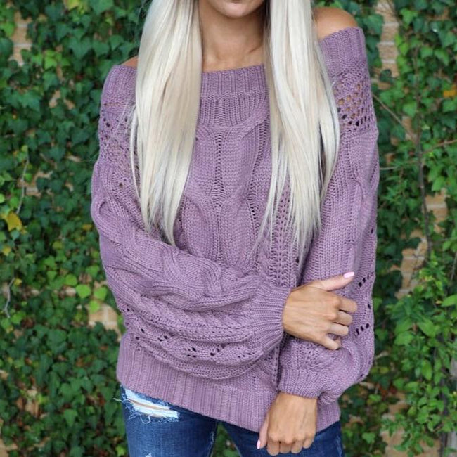 Ash Purple Cable Knit Off Shoulder Sweater
