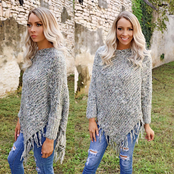 Gray Fringe Asymmetrical Sweater Top