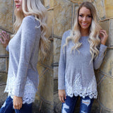 Gabby Grey Long Sleeve Top