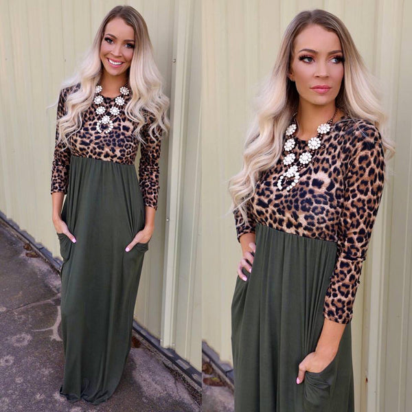 Olive and Leopard Love Sleeve Maxi Dress - The Lace Cactus