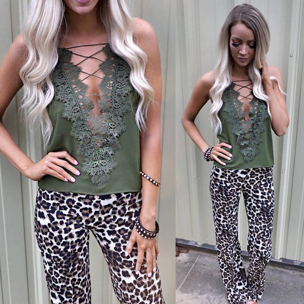 Olive Green Crochet V-Neck Tank Top