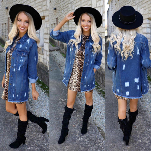 Denim Distressed Long Jacket