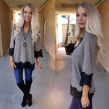 Mocha V-Neck Black Lace Trim Top