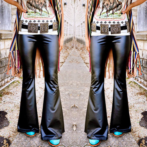 Brix Black Leather Bell Bottoms