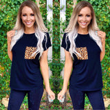Basic Black Tee with Leopard Pocket