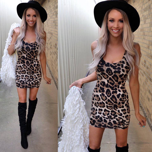 Leopard Scoop Neck Bodycon Dress