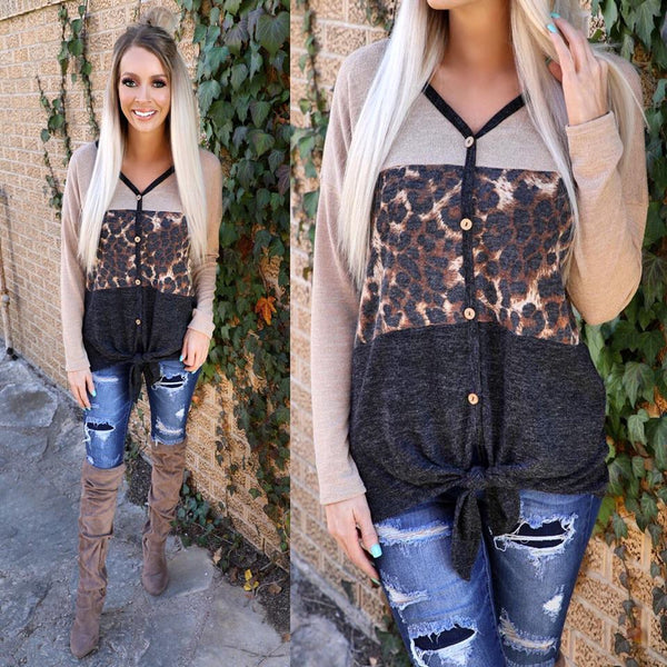 Taupe Charcoal Leopard Block Tie Hem Top