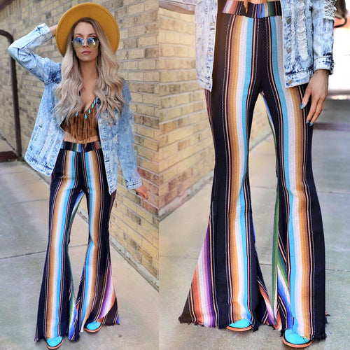 County Road Serape Frayed Bell Bottoms