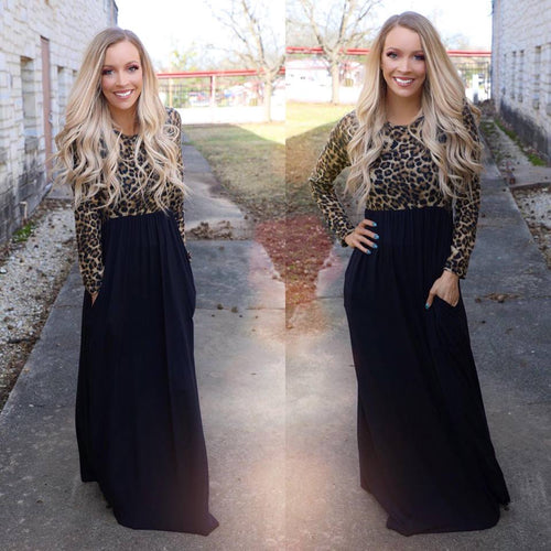 Black Leopard Love Sleeve Maxi Dress