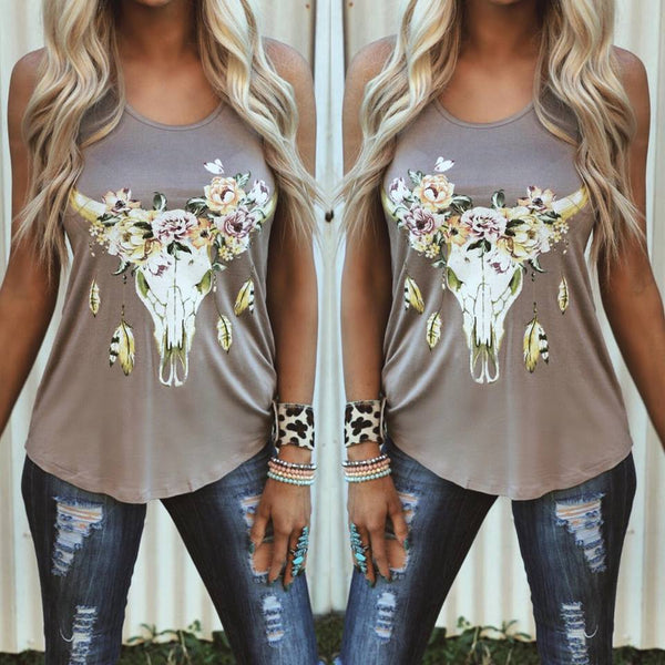 Talula Taupe Floral Steer Tank Top - The Lace Cactus