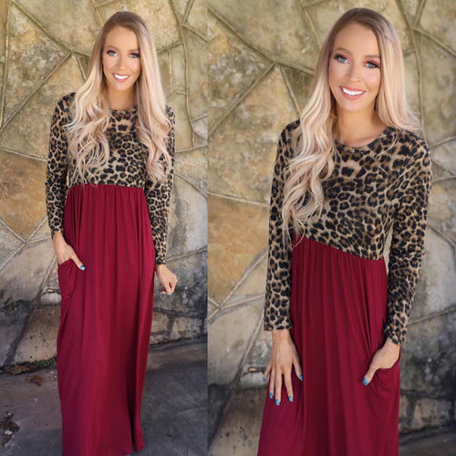 Wine Leopard Love Sleeve Maxi Dress