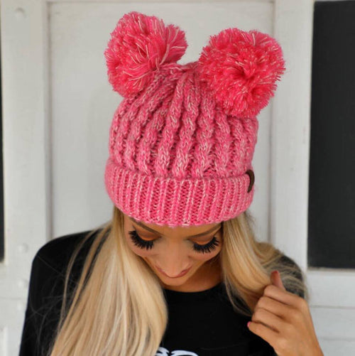 Bubble Gum Pink Double Pom Pom Beanie