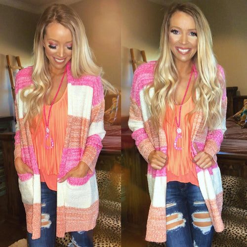 Coral Pink and White Block Cardigan
