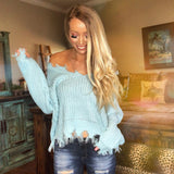 Sky Blue Frayed Sweater - The Lace Cactus