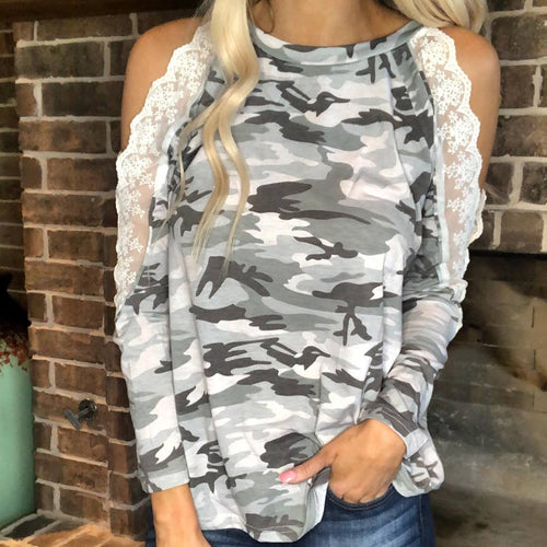 Light Camo Lace Cold Shoulder Long Sleeve