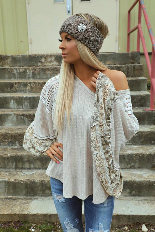 Natty Beige Bell Sleeve Lace Top
