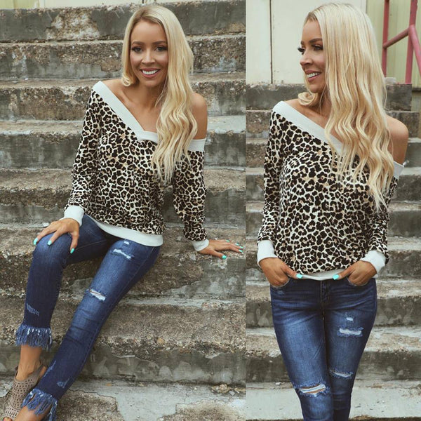 Leopard and Ivory Trim Long Sleeve