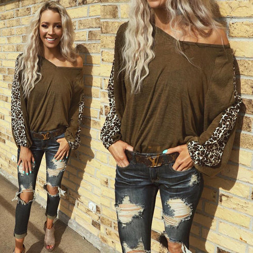 O'Brian Olive Leopard Sleeve Top