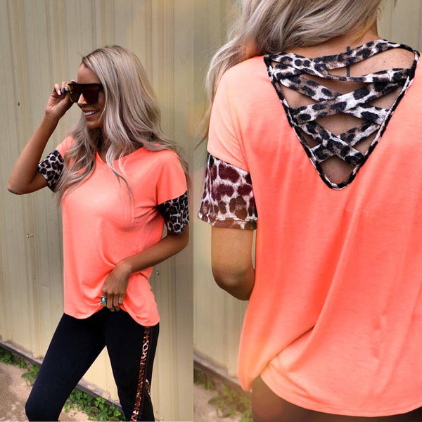 Neon Coral Leopard Caged Back Top