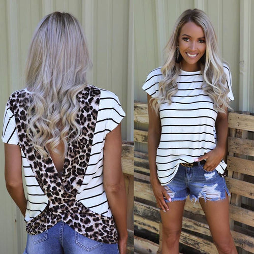 1c55a8beb30 Striped Leopard Open Back Tee