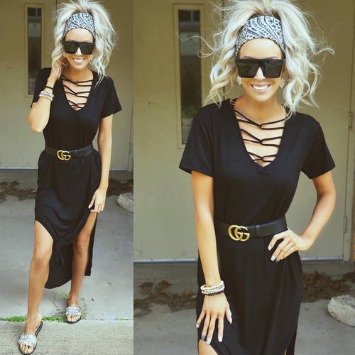 6ecae547951 May Flowers Maxi Dress.  36.99. SOLD OUT. Black Casual Caged Neck Dress