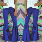 Royal Blue Mermaid Ruffle Flare Pants