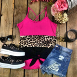 Pink, Leopard and Black Block Tank Top