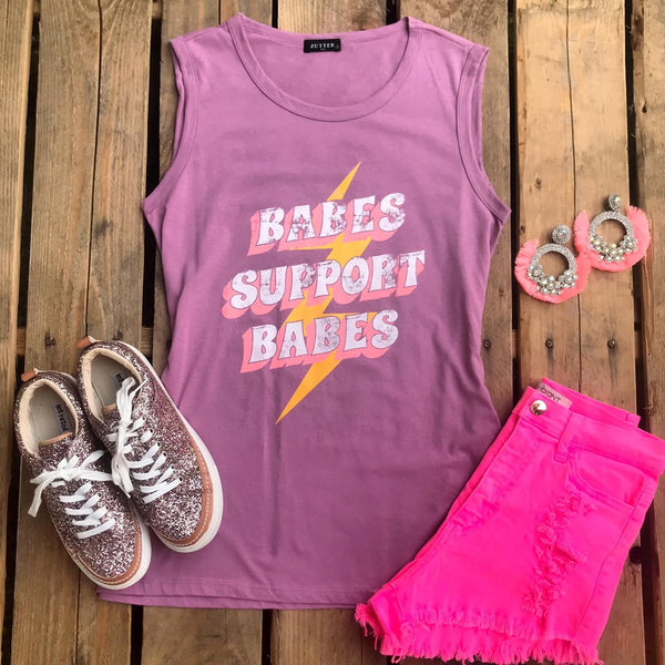 "Purple ""Babes Support Babes"" Tank Top - The Lace Cactus"