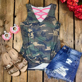 Camo Pink Criss Cross Tank Top