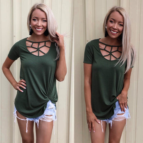 Hunter Green Caged Tee