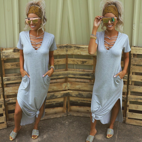 Gray Caged Neck Dress