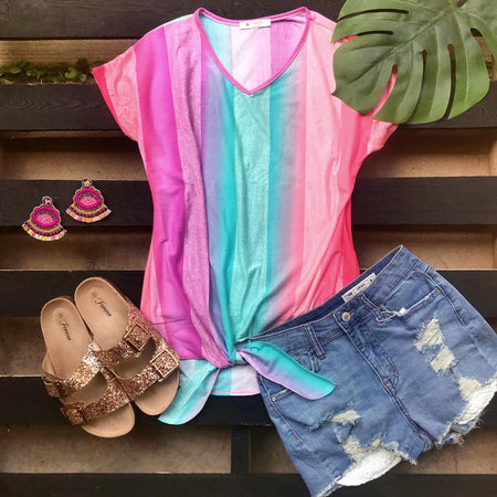 Pink, White and Sequin Block Tee