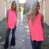Flowy Neon Pink Tank Top - The Lace Cactus