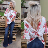 Maya Ivory Floral Open Back Top