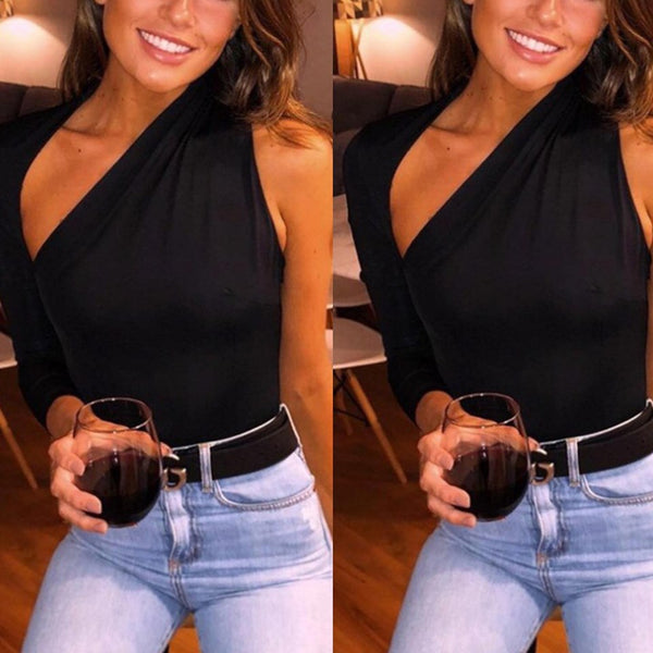 Sleek Black One Sleeve Bodysuit