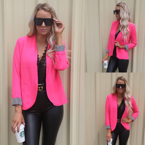 She Means Business Hot Pink Blazer - The Lace Cactus