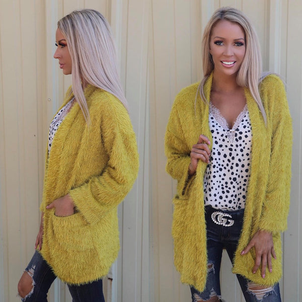 Shaggy Mustard Cardigan - The Lace Cactus