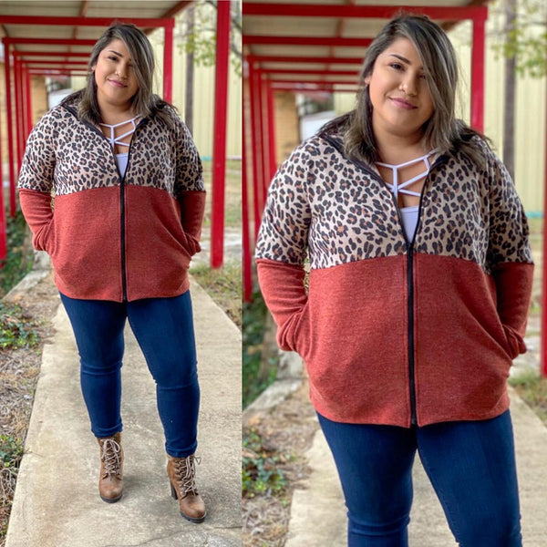 Leopard Burnt Orange PLUS Zip up Sweater
