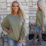 Olive Shirred Sleeve Jeresey Top - The Lace Cactus