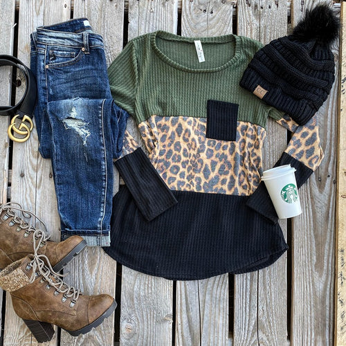 Olive, Leopard and Black Block Top - The Lace Cactus