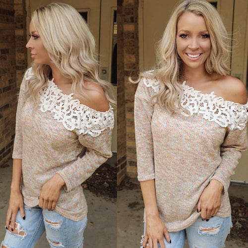 Sprinkled in Fall Crochet Neck Sweater - The Lace Cactus