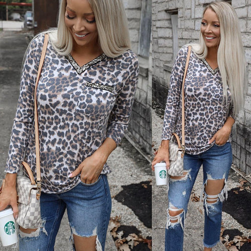 Gold Sequined V-Neck Leopard Top - The Lace Cactus