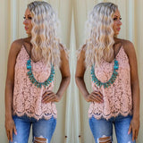 Desert Sand Lace V-Neck Tank Top - The Lace Cactus