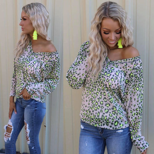 Beige and Neon Leopard V-Neck Sweater