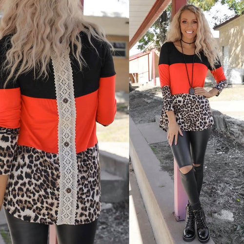 Black, Red and Leopard Block Top