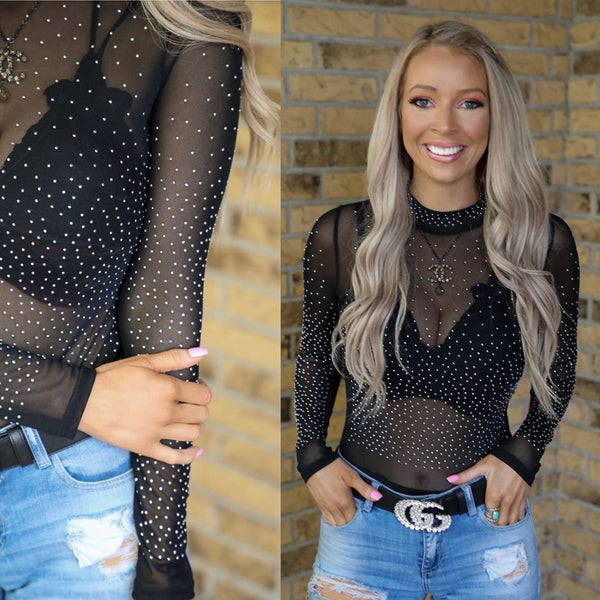 We're In The Black Long Sleeve Studded Bodysuit