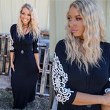 Victorian Black Crochet Sleeve Maxi Dress